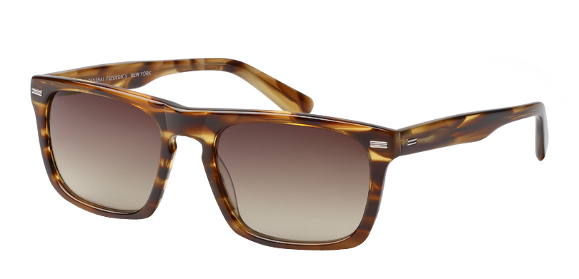 Brando::Morgenthal Frederics Classic Actors Collection.<br />Thick-gauged rectangle featuring a key-hole bridge and metal detailing, handcrafted in Japan.<br />Tortoise, with brown gradient lenses.