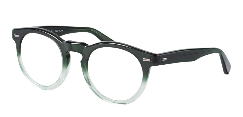 Cooper::Morgenthal Frederics Classic Actors Collection.<br />Large panto-shape featuring a key-hole bridge and metal detailing, handcrafted in Japan.<br />Emerald fade.