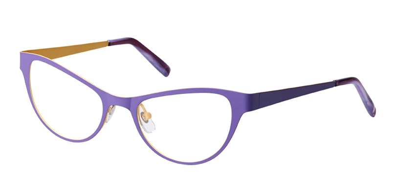 Daisy::Morgenthal Frederics New Intellectuals Collection.<br />Laser-cut beta titanium cat-eye in two-tone color blocks, handcrafted in Japan.<br />Lavender/lemon.