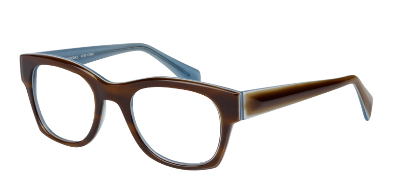 Dave::Morgenthal Frederics Classic Acetate Collection.<br />Handcrafted in Japan. Faceted temple detailing.<br />Tortoise on sky.