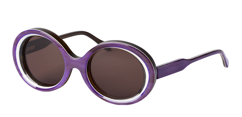 FLANGE::Morgenthal Frederics Buffalo Horn Collection.<br />Flange is a timeless piece that originally joined the collection in 1990. After two decades, the style was recreated in genuine buffalo horn.<Br />Features 24 layers of pure horn, handcrafted in Germany. Purple horn, with gray lenses.