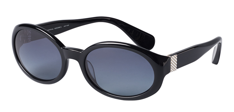 Grand::Morgenthal Frederics Manhattan Collection.<br />Handcrafted in Japan. Soft oval featuring deco inspired sterling silver accents.<br />Black with gray polarized gradient lenses.