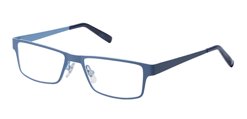 Jay::Morgenthal Frederics New Intellectuals Collection.<br />Laser-cut beta titanium sleek rectangle, handcrafted in Japan.<br />Navy/sky.