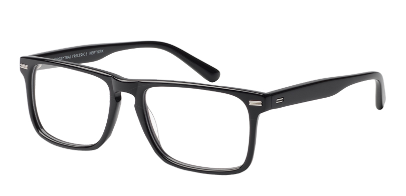 Newman::Morgenthal Frederics Classic Actors Collection.<br />Thin-gauged rectangle featuring a key-hole bridge and metal detailing.<br />Black.