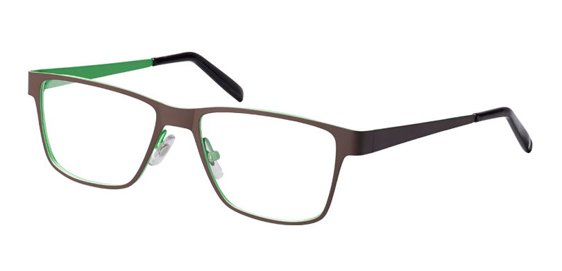 Nick::Morgenthal Frederics New Intellectuals Collection.<br />Laser-cut beta titanium large rectangle, handcrafted in Japan.<br />Chocolate/moss.