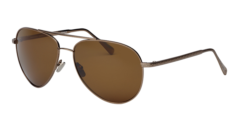 Shadow::Morgenthal Frederics Air Corps Collection.<br />Titanium classic aviator, featuring vintage detailing, handcrafted in Japan.<br />Copper, with brown polarized lenses.