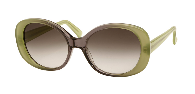 BRIGITTE::Morgenthal Frederics Sex Symbols Collection.<br />Handcrafted in France, two-toned colored acetate frame in green.