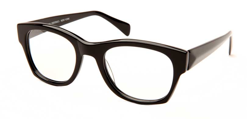 DAVE::Morgenthal Frederics Acetate Classic Collection.<br />Handcrafted in Japan, solid black with faceted temples.