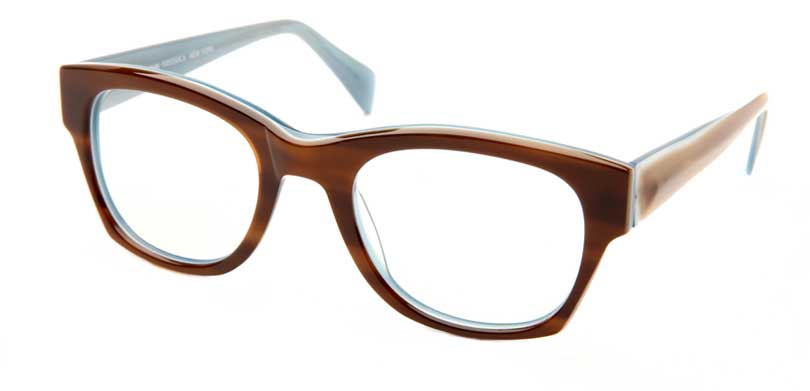 DAVE::Morgenthal Frederics Acetate Classic Collection.<br />Handcrafted in Japan, tortoise/sky with faceted temples.