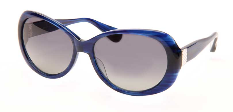 ELIZABETH::Morgenthal Frederics Manhattan Collection.<br />Handcrafted in Japan, blue marble with deco inspired sterling silver accents and polarized gradient lenses.