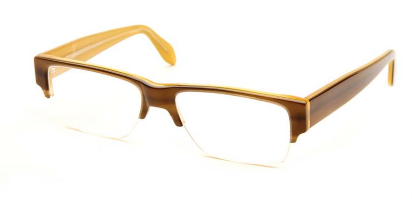 GIO::Morgenthal Frederics Acetate Classic Collection.<br />Handcrafted in France, olive/lemon semi-rimless.