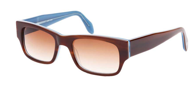MATTHEW::Morgenthal Frederics Acetate Classic Collection.<br />Handcrafted in France, tortoise/sky rectangular tapered temples.