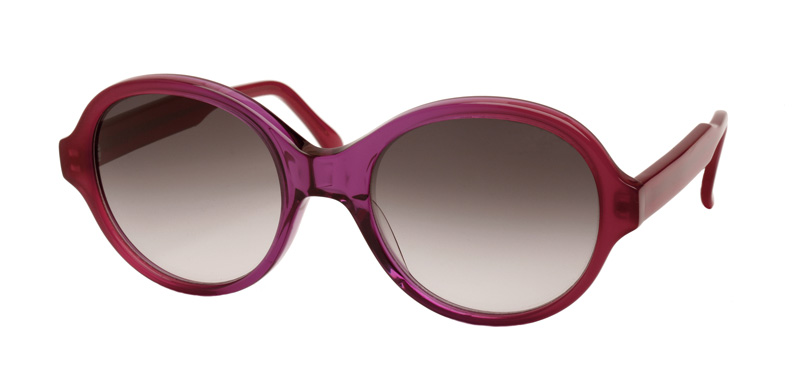 SOPHIA::Morgenthal Frederics Sex Symbols Collection.<br />Handcrafted in France, two-toned colored acetate frame in magenta.